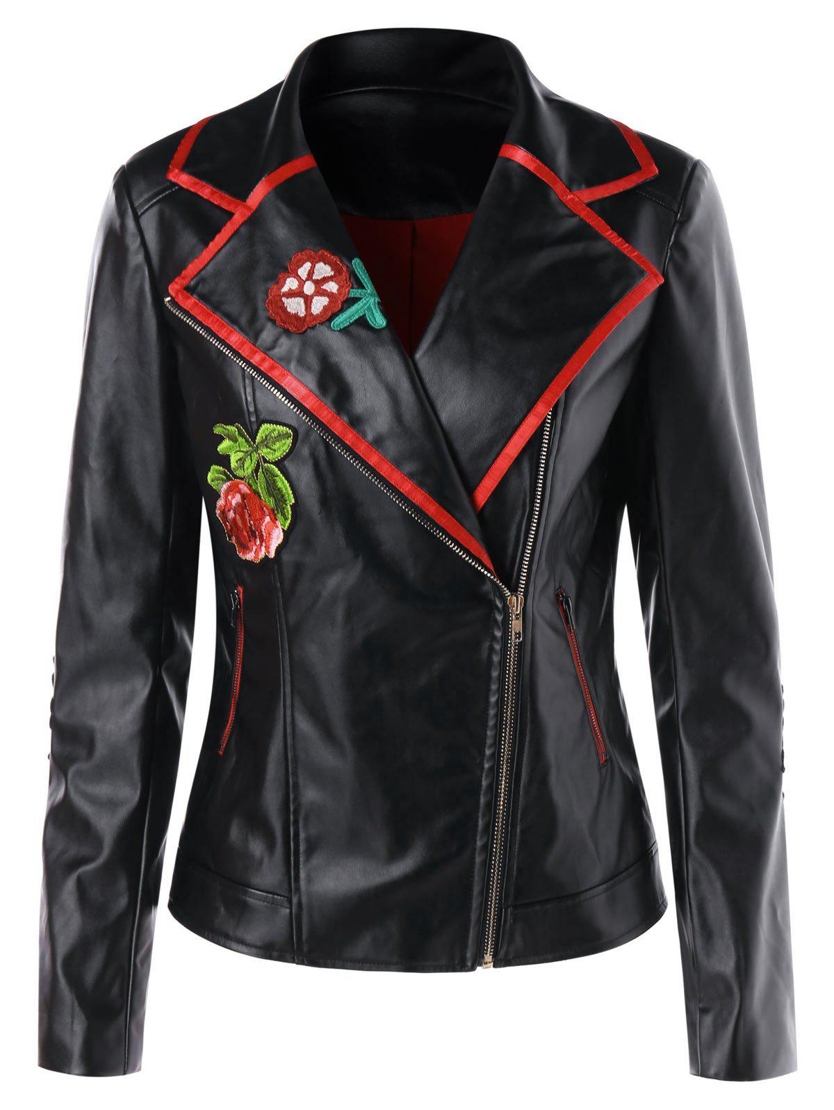 Applique Faux Leather Biker Jacket - BLACK M