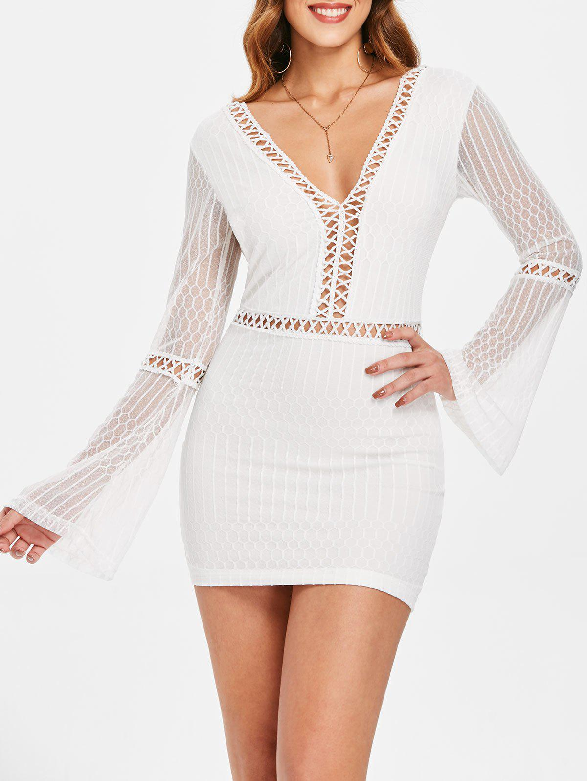 Flare Sleeve Backless Bodycon Dress - MILK WHITE S