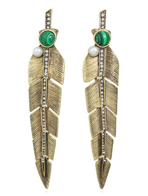 Faux Emerald Embellished Feather Earrings - GOLD
