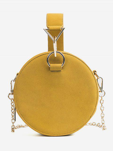 Solid Minimalist Round Handbag with Strap - YELLOW
