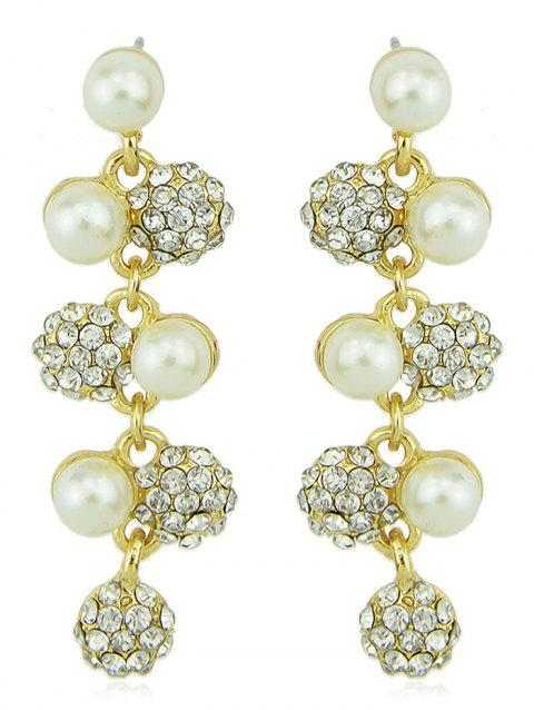 Fake Pearls Long Rhinestone  Drop Earrings - WHITE