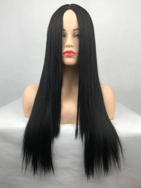 Heat Resistant Synthetic Center Parting Long Straight Wig - BLACK