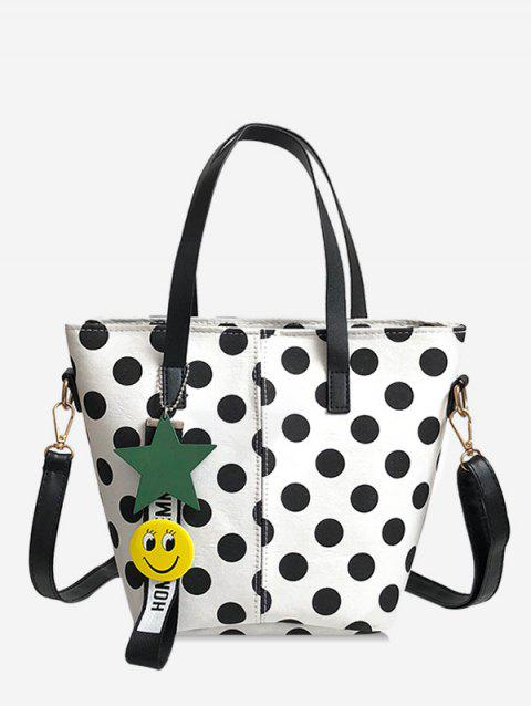 Retro Polka Dot All Purpose Tote Bag - WHITE