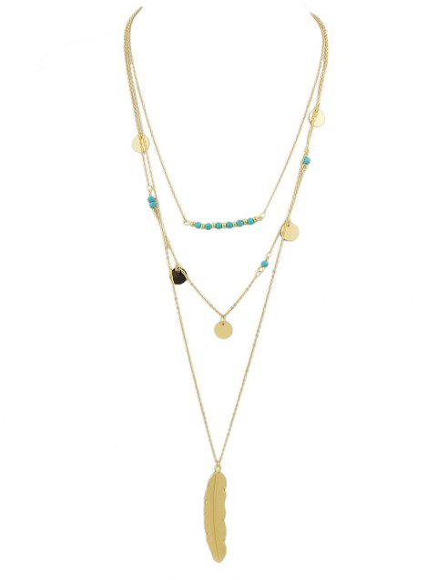 Multi-layer Beaded Feather Necklace - GOLD