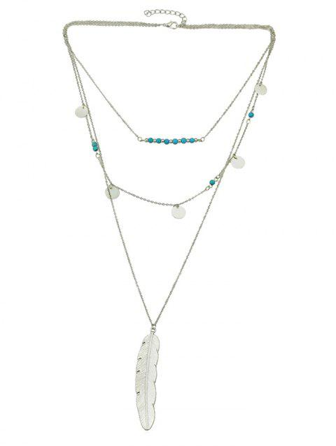 Multi-layer Beaded Feather Necklace - SILVER