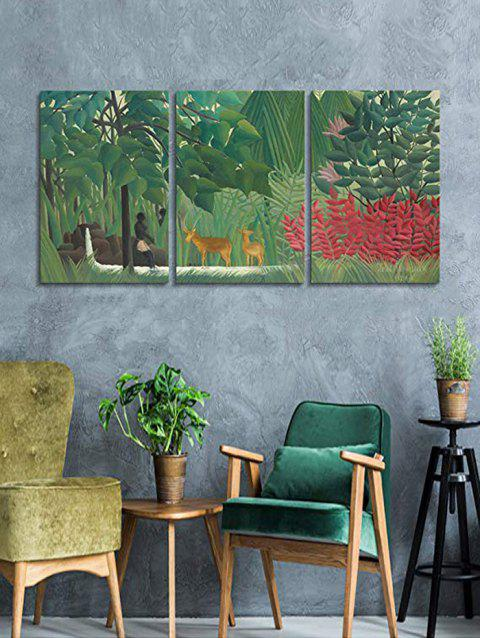 Primary Forest Print Unframed Canvas Paintings - multicolor 3PC:16*24INCH(NO FRAME)