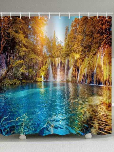 Lake In The Forest Print Waterproof Shower Curtain - multicolor W71 INCH * L71 INCH