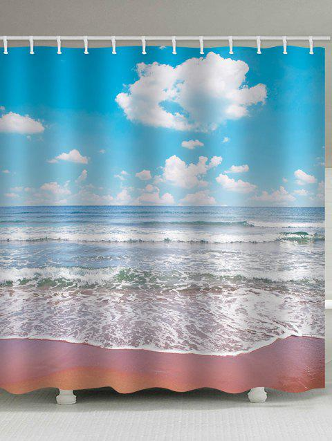 Beach Clear Day Print Waterproof Shower Curtain - multicolor W71 INCH * L79 INCH
