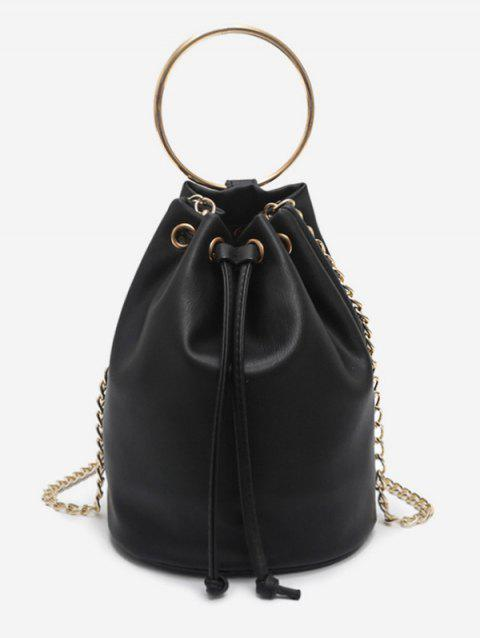 Minimalist Round Ring Metal Chain Bag - BLACK