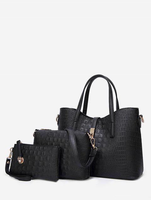 3 Pieces Embossed Chic Tote Bag Set - BLACK