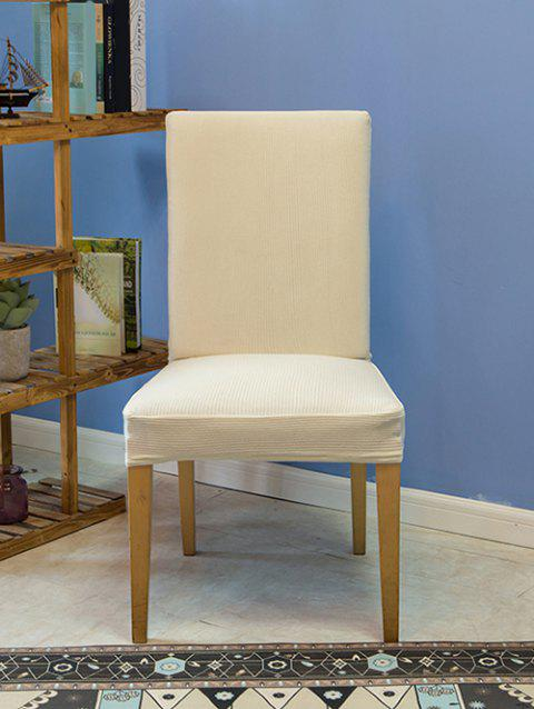 Fine Stripe Fabric Elastic Dining Chair Cover - WHITE