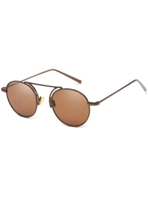 Stylish Thin Metal Frame Oval Sunglasses - LIGHT BROWN