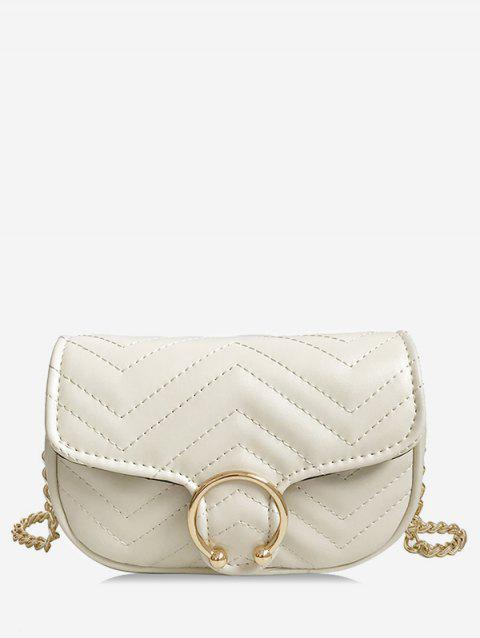 Quilted Flapped Metal Sling Bag - WHITE