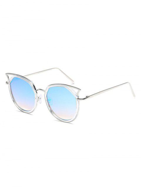 Retro Metal Frame Flat Lens Catty Sunglasses - LIGHT SKY BLUE