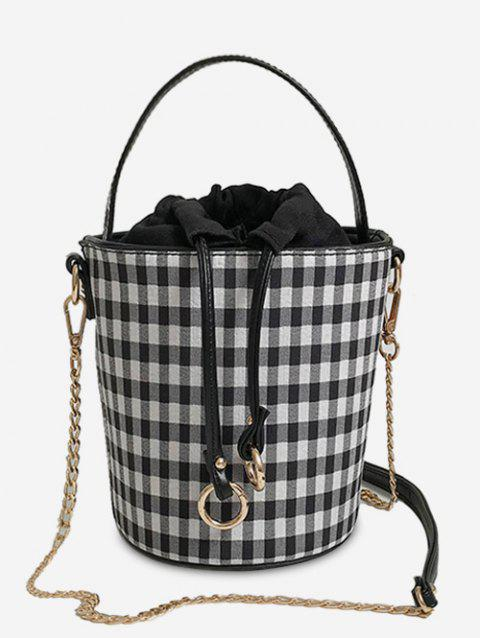 Plaid Casual Outdoor Bucket Bag - BLACK