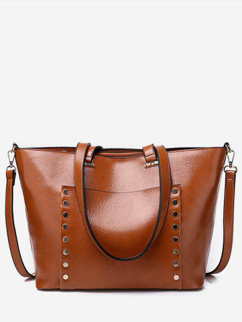 Chic All Purpose Convertible Studs Shoulder Bag - BROWN