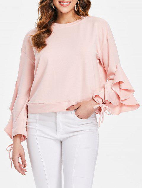 Drop Shoulder Flare Sleeve Sweatshirt - PINK BUBBLEGUM L