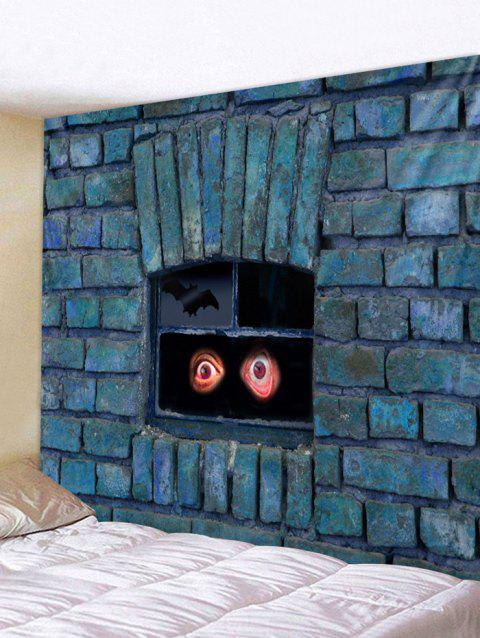 Brick Wall Eyes Print Tapestry Wall Art - PEACOCK BLUE W59 INCH * L59 INCH