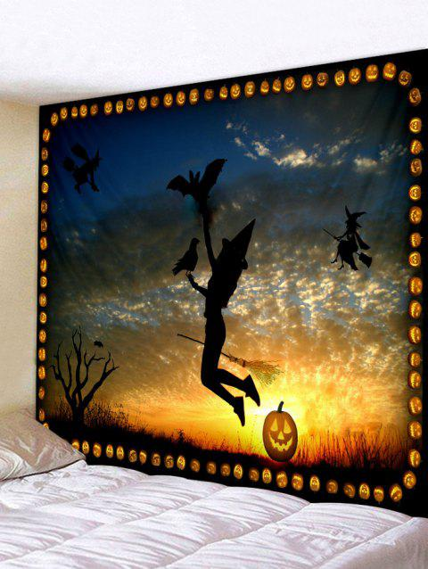 Halloween Witch Sunset Print Tapestry Wall Art - multicolor W59 INCH * L51 INCH