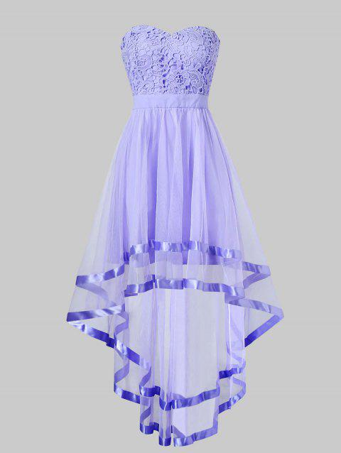Strapless High Low Maxi Evening Dress - PURPLE MIMOSA M