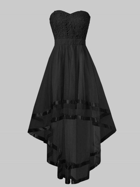 Strapless High Low Maxi Evening Dress - BLACK L