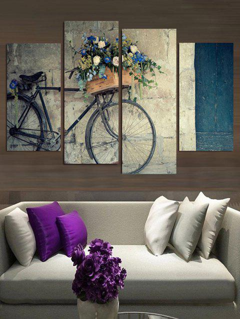 Bike Flower Basket Print Split Wall Hanging Paintings - multicolor 2PCS:12*24,2PCS:12*31 INCH( NO FRAME )