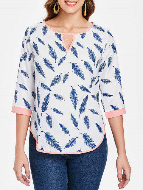 Refreshing 3/4 Sleeve Cut Out Leaf Printed Blouse For Women - WHITE L