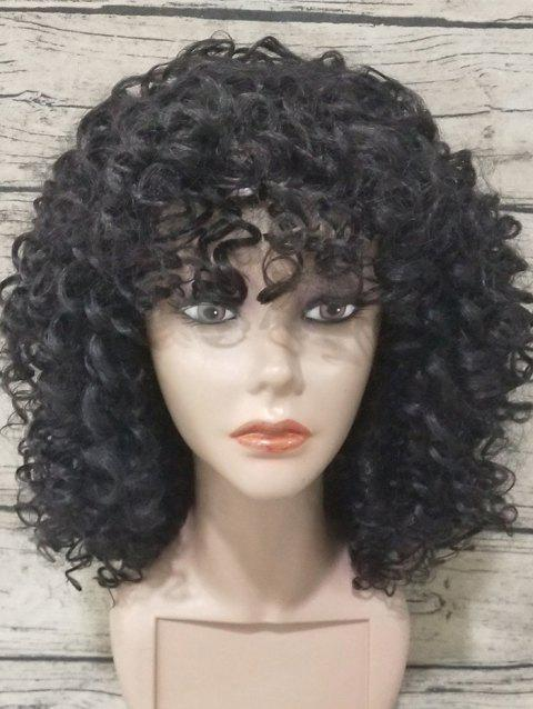 Full Bang Medium Kinky Curly Synthetic Wig - BLACK