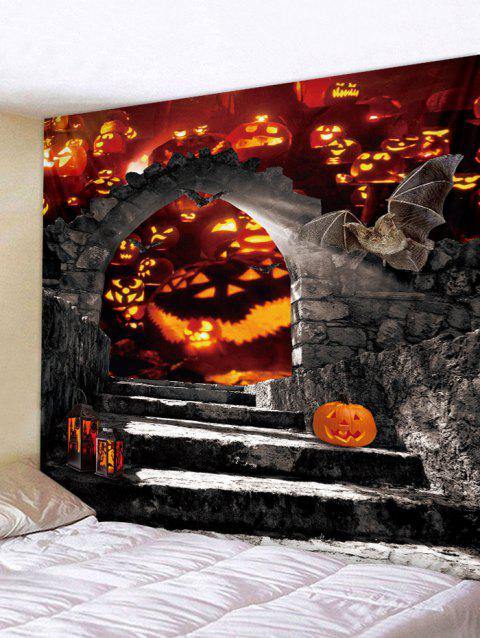 Halloween Pumpkin Door Print Tapestry Wall Art - VAMPIRE GRAY W59 INCH * L51 INCH