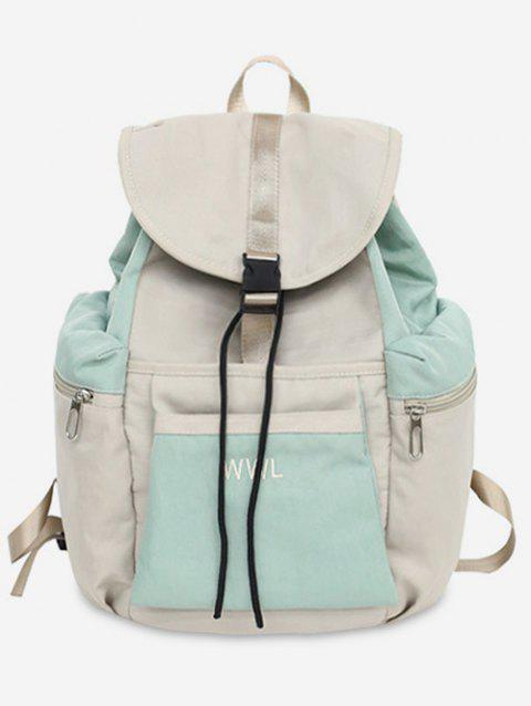 Contrasting Color Leisure Outdoor Backpack - ALGAE GREEN