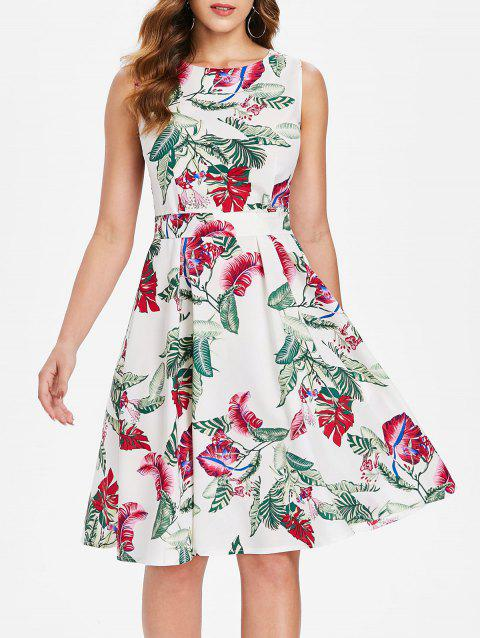 Tropical Leaf Sleeveless Belted Dress - MILK WHITE M