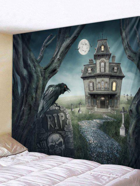 Halloween Castle Print Tapestry Wall Art - multicolor W79 INCH * L59 INCH