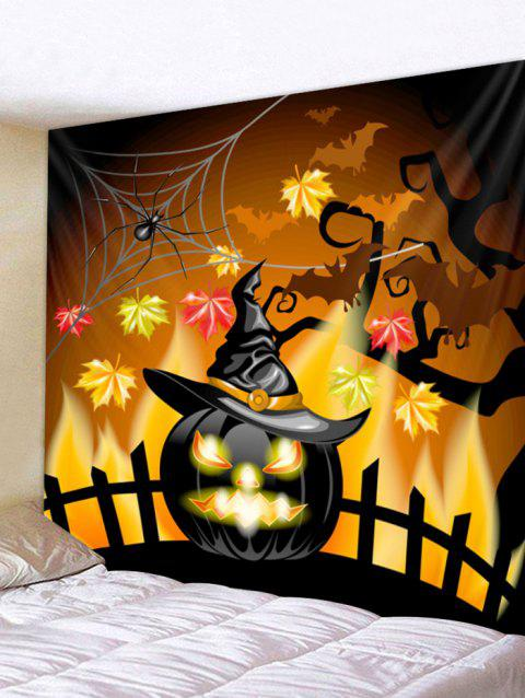 Halloween Pumpkin Hat Print Tapestry Wall Art - multicolor W91 INCH * L71 INCH
