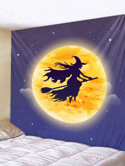 Halloween Moon Witch Print Tapestry Wall Art - ORANGE W79 INCH * L59 INCH