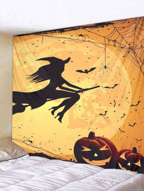 Halloween Witch Pumpkin Print Tapestry Wall Art - ORANGE W91 INCH * L71 INCH