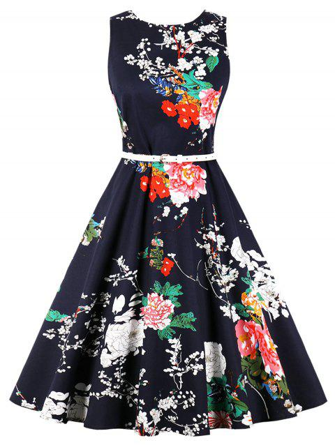 Retro Printed Pin Up Dress - CADETBLUE XL