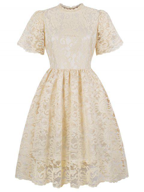 Vintage Lace High Waist Dress - BEIGE L
