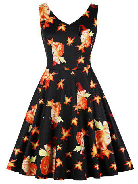 Halloween 3D Cat Maple Leaf Flare Dress - BLACK 2XL