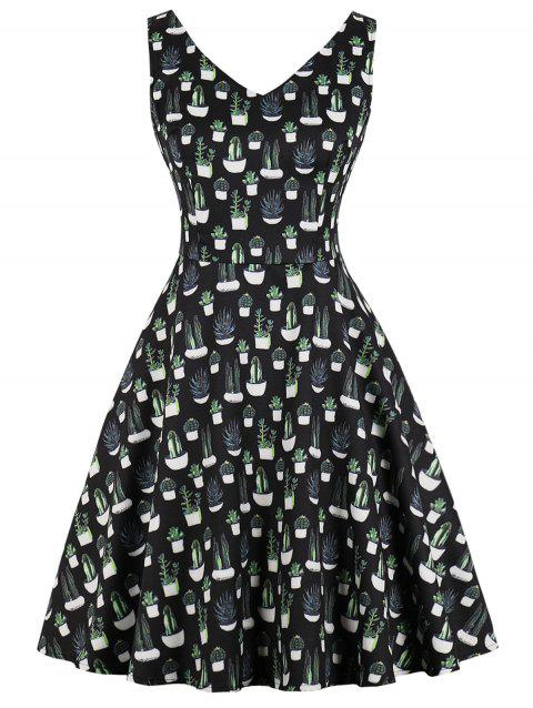 Retro Cactus Print Fit and Flare Dress - BLACK L
