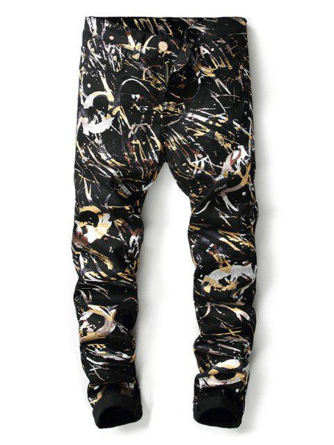 Shiny Abstract Painting Print Zipper Fly Jeans - BLACK 38