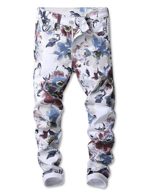 Zipper Fly Flowers Painting Print Jeans - multicolor 34