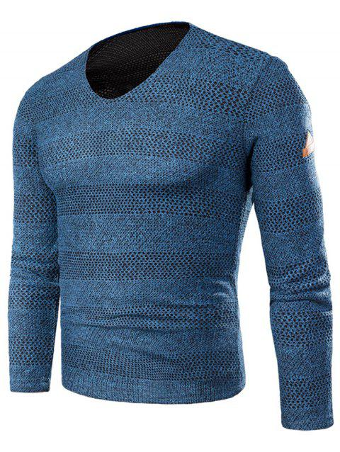 Applique Knit Long Sleeve V Neck T-shirt - BLUE XL