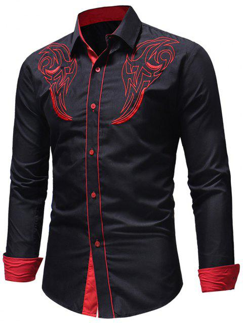 Chest Embroidery Edge Contrast Button Up Shirt - BLACK S