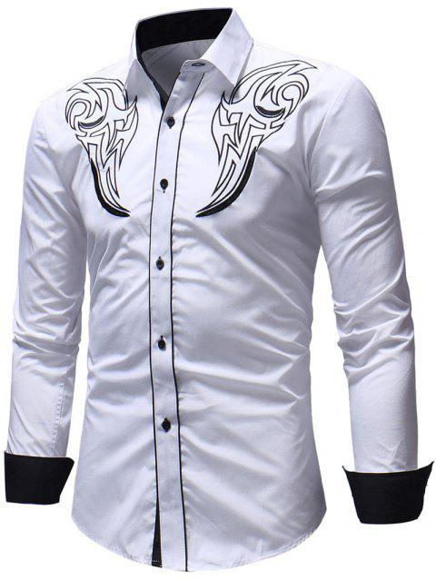 Chest Embroidery Edge Contrast Button Up Shirt - WHITE S