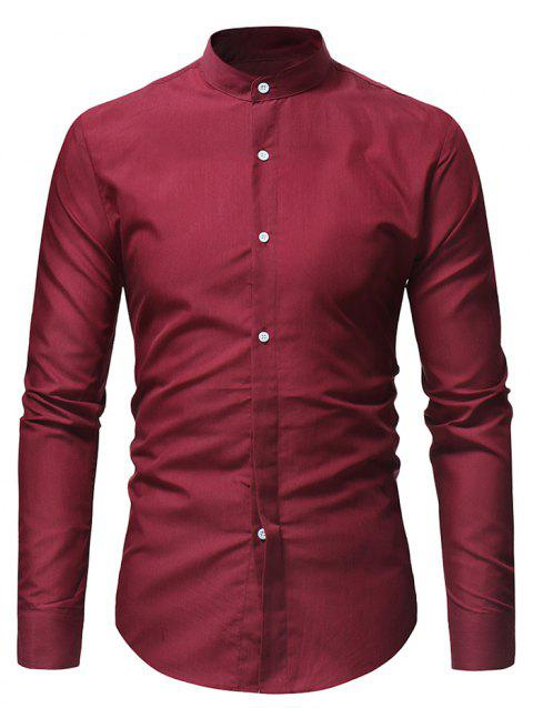 Stand Collar Solid Long Sleeve Shirt - RED L