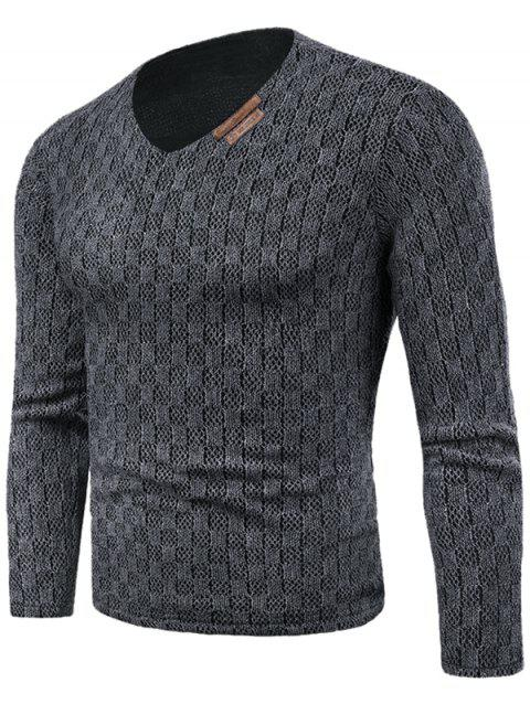 Knit Long Sleeve V Neck Applique T-shirt - GRAY M