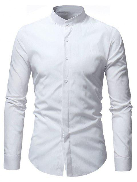 Stand Collar Solid Long Sleeve Shirt - WHITE XS