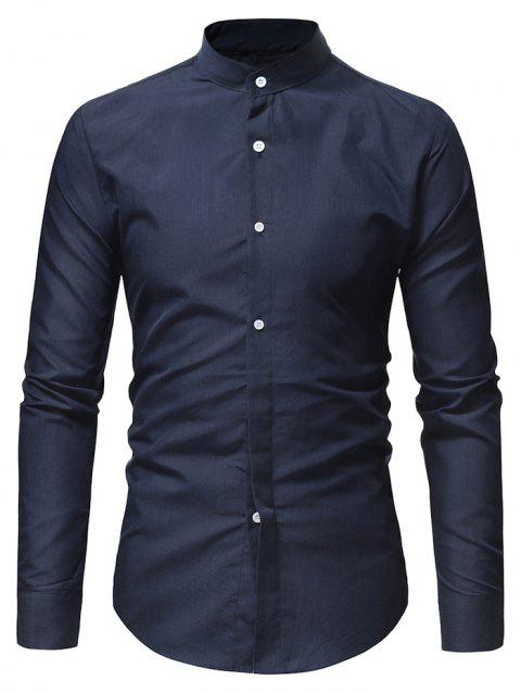 Stand Collar Solid Long Sleeve Shirt - CADETBLUE XS