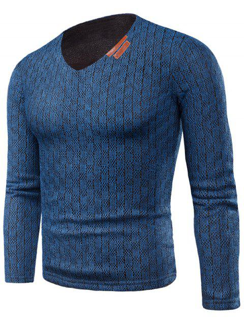 Knit Long Sleeve V Neck Applique T-shirt - BLUE L