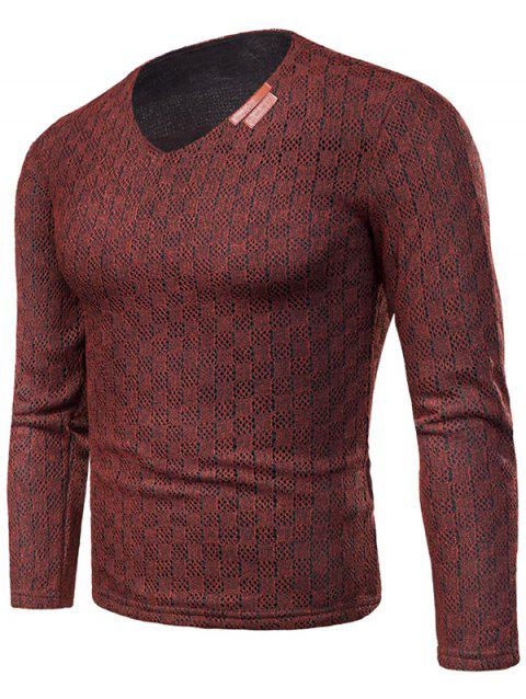 Knit Long Sleeve V Neck Applique T-shirt - RED WINE M